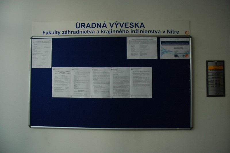Tulipánová 7, 949 01, Nitra, FZKI - študijné oddelenie